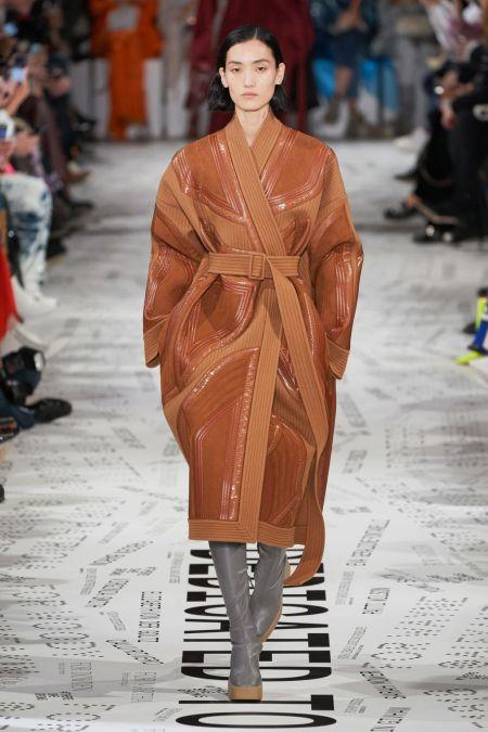 Коричневое пальто со стегаными вставками из коллекции Stella McCartney