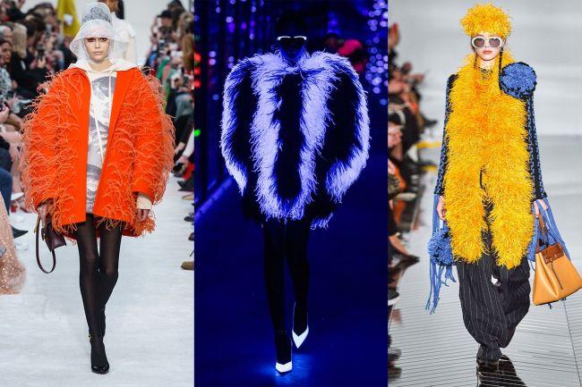 Верхняя одежда с яркими перьями - модный тренд 2020
