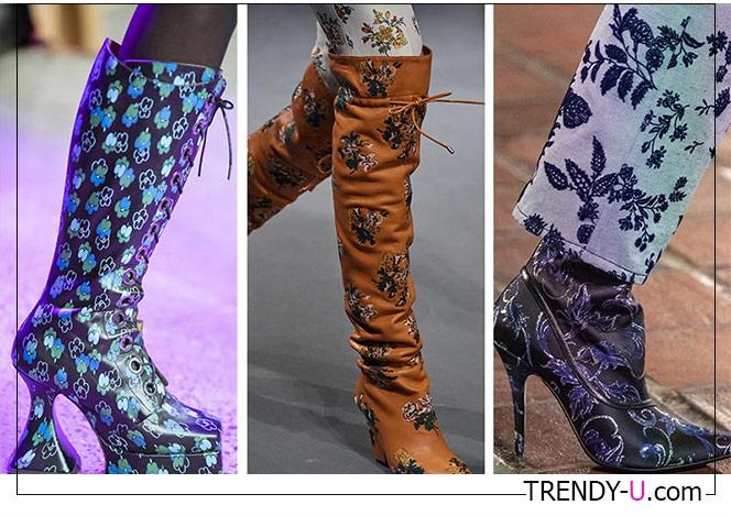 Модные демисезонные сапоги с принтом из коллекций Rodarte, Tory Burch and Anna Sui 2020