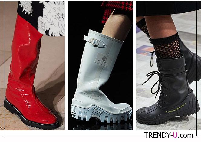 Сапоги на толстой подошве с протектором от Oscar de la Renta, Versace and Christian Dior 2020