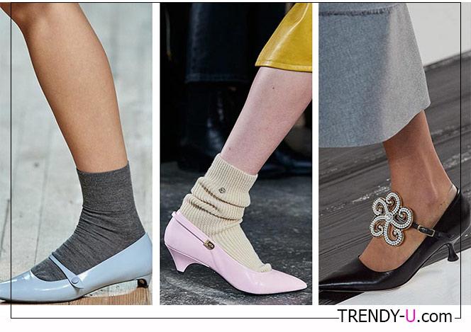 Туфли с острым носком на невысоком тонком каблуке