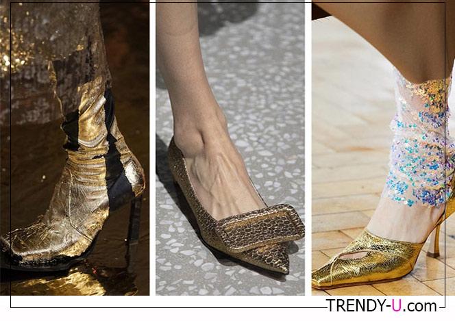 Золотистые туфли и сапоги от Preen, Emilia Wickstead and AWAKE Mode FW 2020