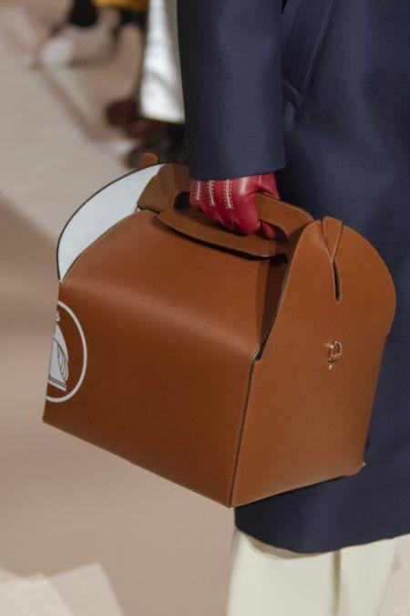 Коричневая сумка короб из коллекции Lanvin