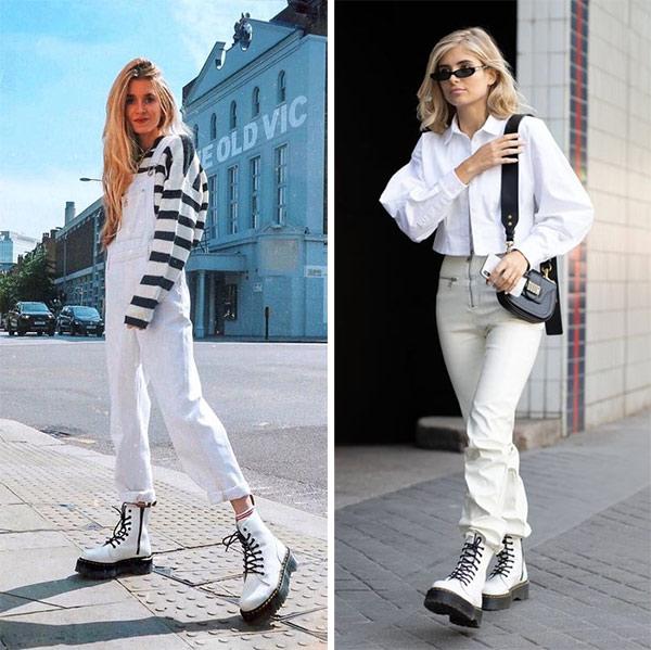 Мартинсы в сочетании с белыми брюками