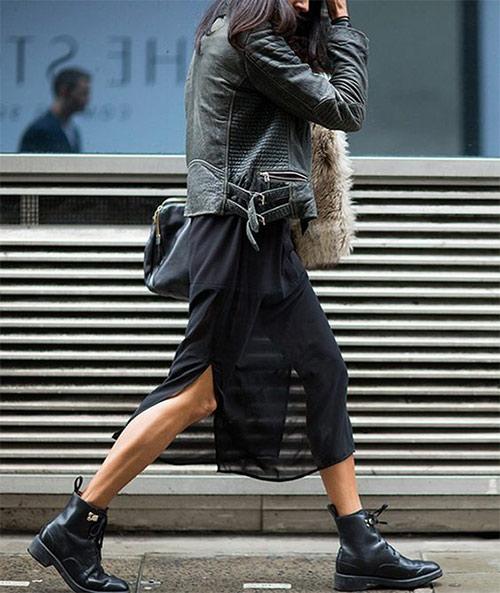 Кожаная куртка, кружевная юбка и черные мартинсы