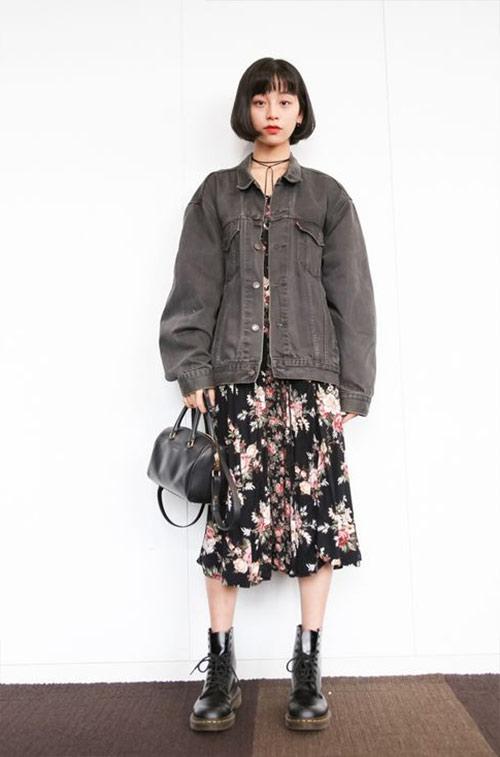 Джинсовый жакет оверсайз, юбка из шифона