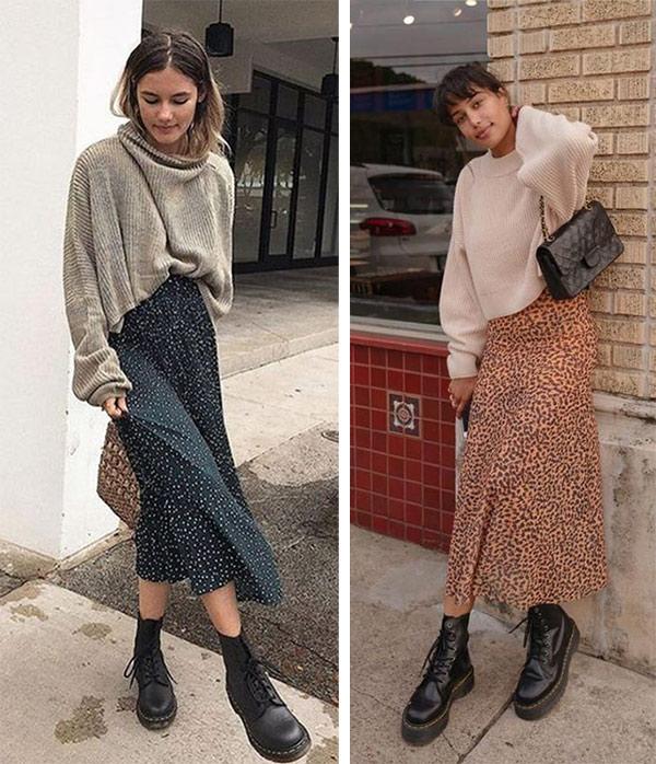 Юбка миди, свитер, женские ботинки Dr Martens
