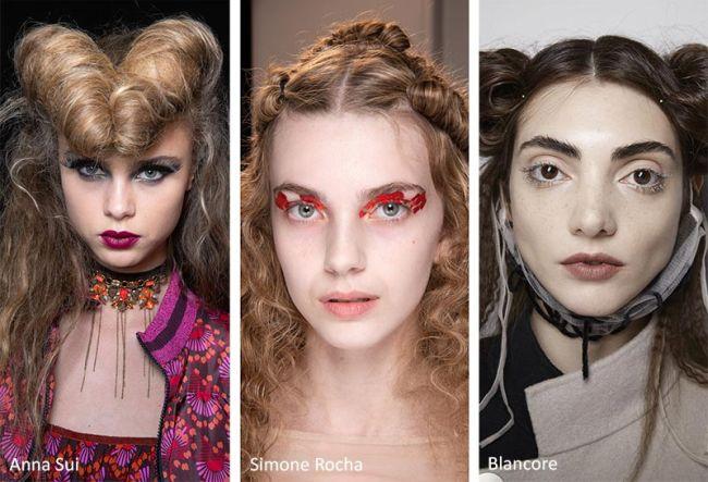 Винтажные прически из коллекции осень-зима 2020-2021 Anna Sui, Simone Rocha, Blancore