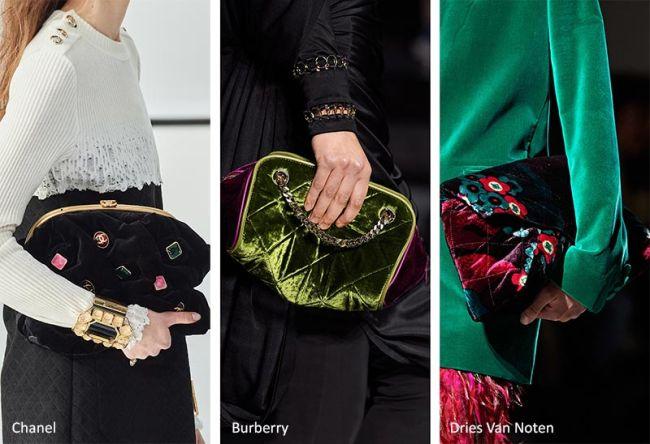 Какие сумки будут в моде осенью 2020 - бархатные клатчи