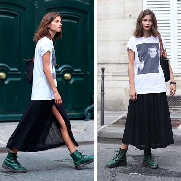 В сочетании с длинной шифоновой юбкой и футболкой