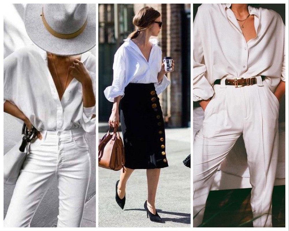 Рубашка белого цвета оверсайз с джинсами или юбкой