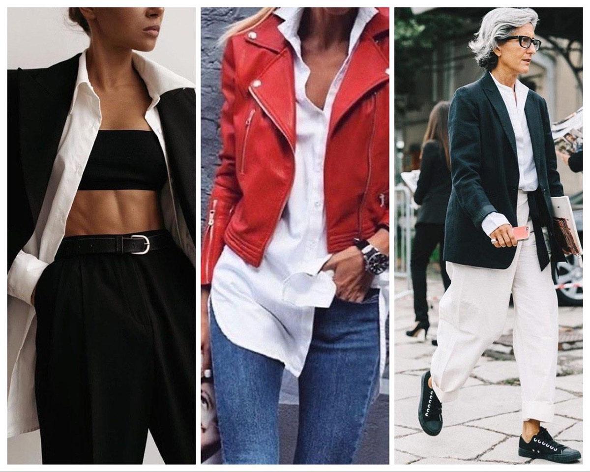 Рубашка женская оверсайз в сочетании с курткой-косухой или пиджаком