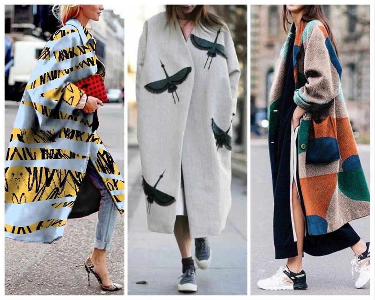 Пальто в стиле оверсайз с принтом