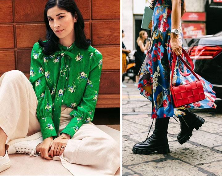 Как носить блузку с цветочным принтом. Как носить платье