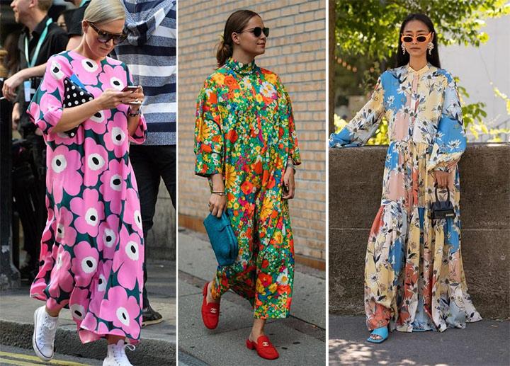 Платья с цветочным принтом. Стрит стайл