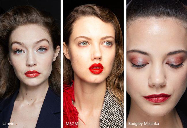 Яркие глянцевые губы для модного макияжа зима 2021