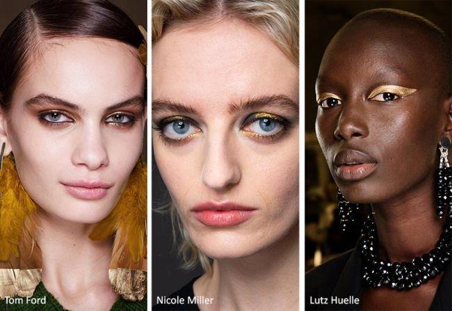 Золотой макияж со стрелками