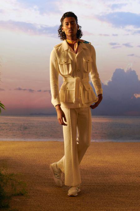 Кремовый мужской костюм в стиле 70-х из коллекции Casablanca