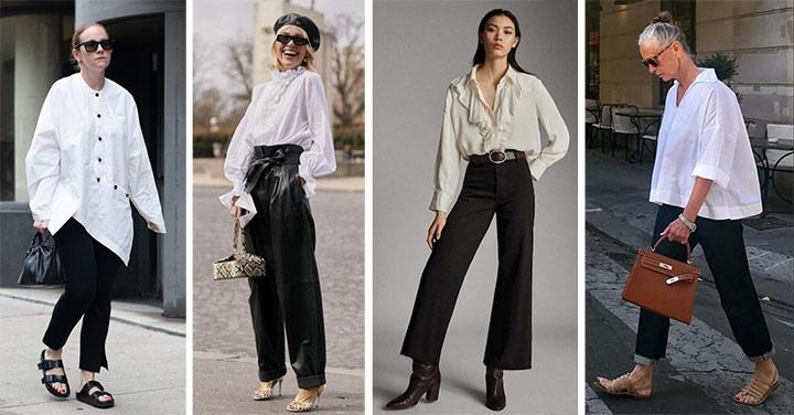 Образы с базовыми вещами гардероба: белая рубашка, черные брюки