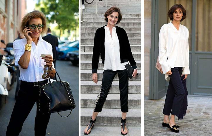 База: черные брюки и белая рубашка