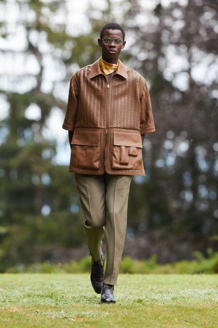 Коричневая куртка с большими карманами Ermenegildo Zegna