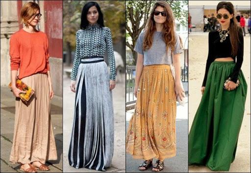 Юбки в пол разных цветов на городских модницах