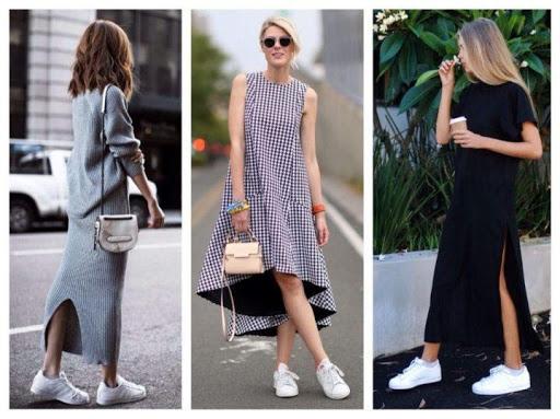 С чем носить платья миди?  В сочетании с кроссовками!