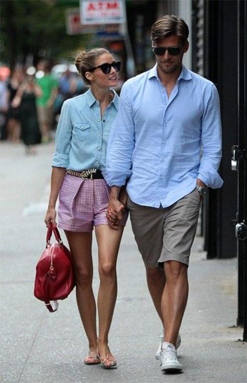 Мужские шорты чиносы в сочетании с рубашкой