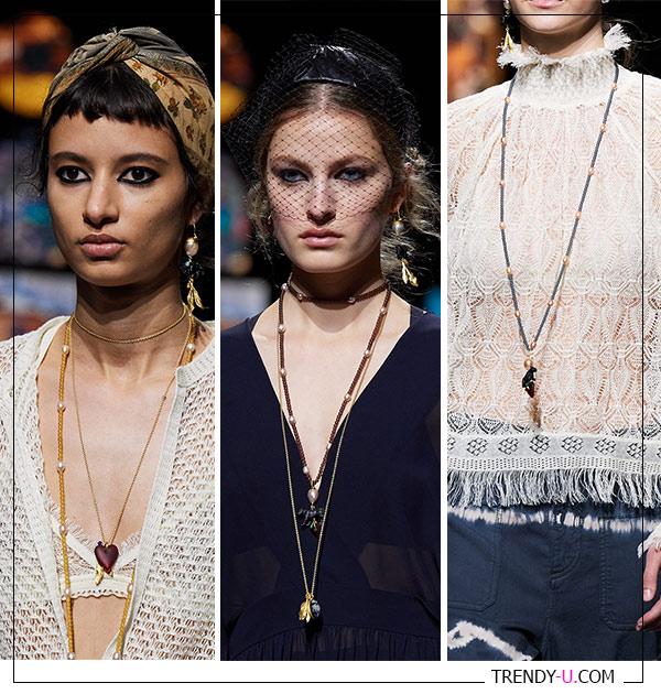 Множество тонких цепей на моделях из коллекции Christian Dior весна-лето 021