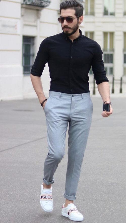 Черная рубашка - серые брюки чиносы