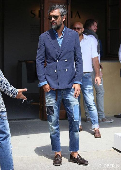 Двубортный пиджак и джинсы пэтчвок