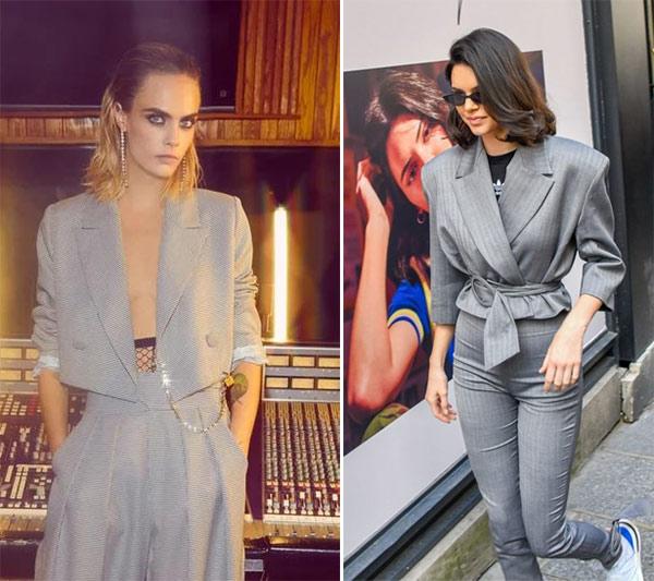Кара Делевинь и Кендалл Дженнер в пиджаках с широкими плечами