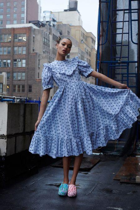 Голубое платье с рукавами-фонариками Batsheva