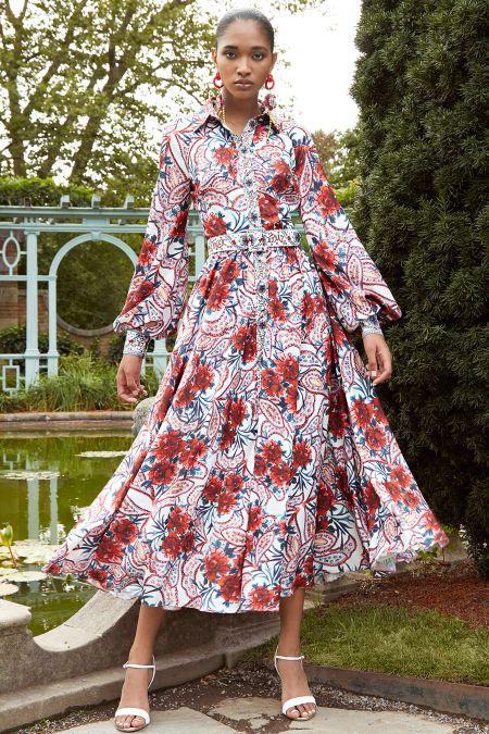 Платье с крупными цветами из коллекции Badgley Mischka