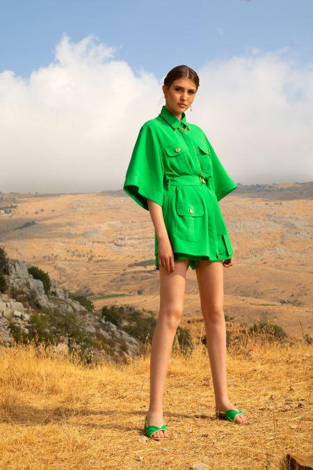 Зеленый костюм из весенне-летней коллекции 2021 Elie Saab