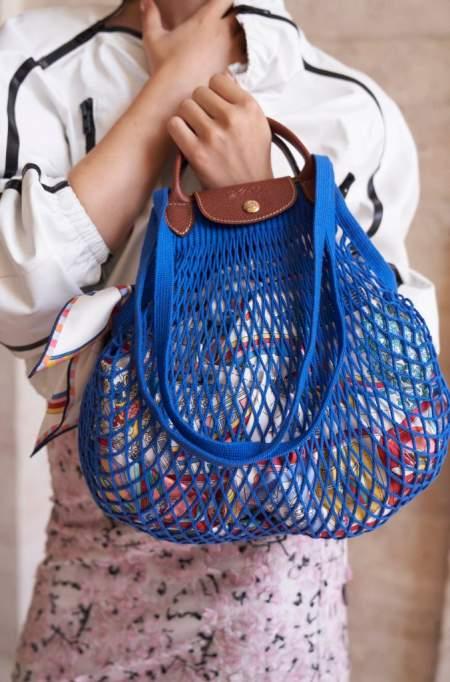 Синяя авоська с кожаной ручкой Longchamp