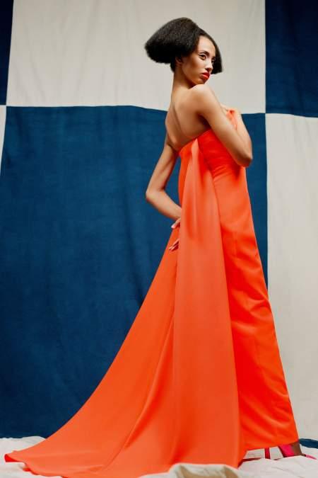 Оранжевое платье в пол Christopher John Rogers