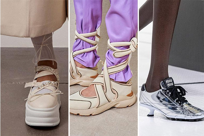 Кроссовки с декоративными  элементами на показах Simone Rocha, Tod's и Miu Miu весна-лето 2021