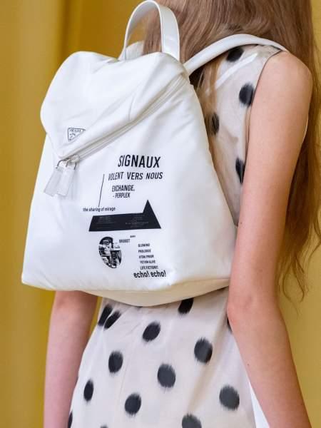 Белый рюкзак из коллекции весна-лето 2021 Prada