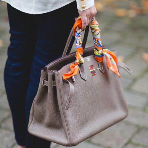 Платок Гермес на ручке сумки