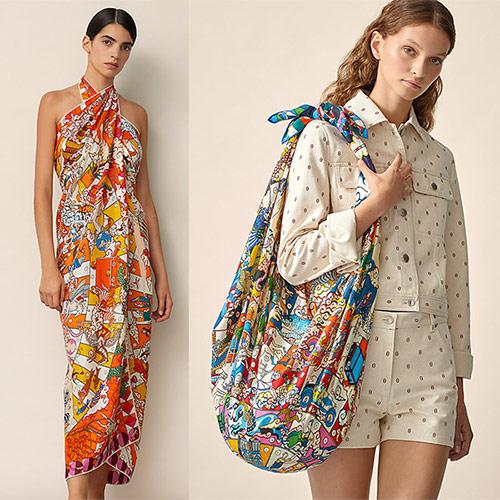 Из полноразмерного платка можно сделать сумку или платье-парео