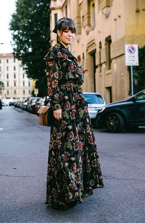 Платье макси с принтом