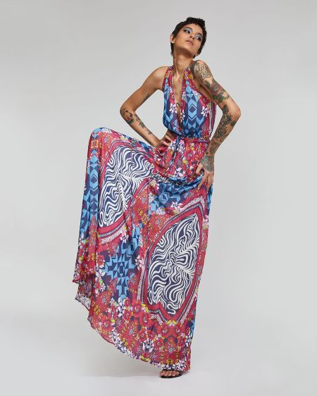 Платье в пол с абстрактным принтом Custo Barcelona