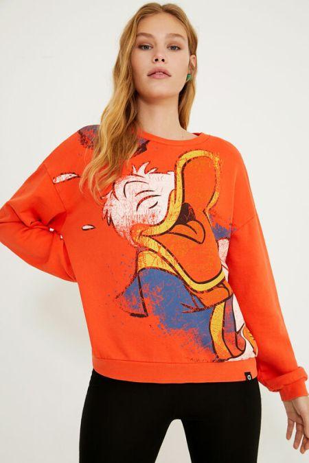 Яркий оранжевый бомбер с героем мультфильма Desigual