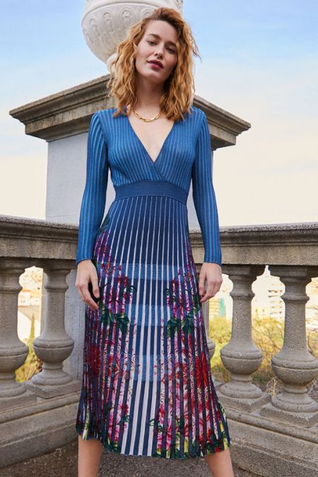 Платье миди с плиссированной юбкой от Desigual