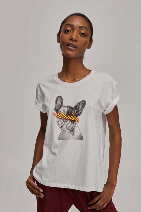 Белая футболка с французским бульдогом Dolores Promesas