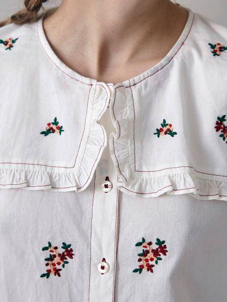 Белая рубашка с цветочной вышивкой Hoss Intropia