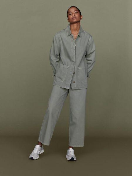 Серый брючный костюм с большими карманами Massimo Dutti