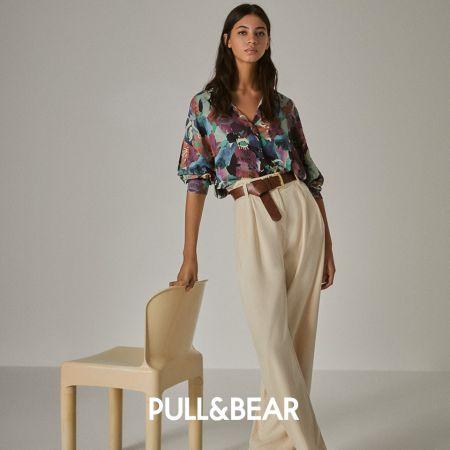 Широкие кремовые брюки и блузка с акварельными разводами Pull & Bear