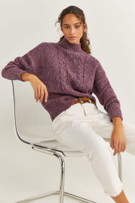 Меланжевый свитер с косичкой от Springfield